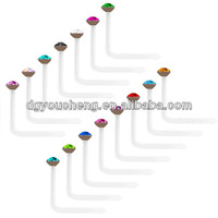 18g White Crystal Jeweled LShaped Nose Studs Indian Nose Piercing