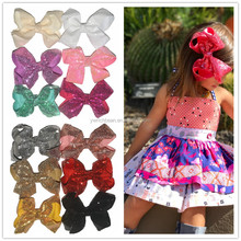 New style children mixed colors sequin hair bows large glitter bows