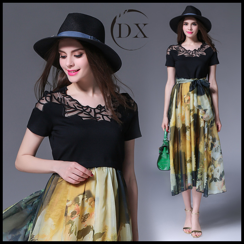 Summer new fashion women's clothing Printing dress silk dress