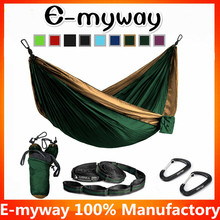 Double hammock Lightweight, for camping, beach, travel, etc. includes steel carabineers hammock straps and sleeve.