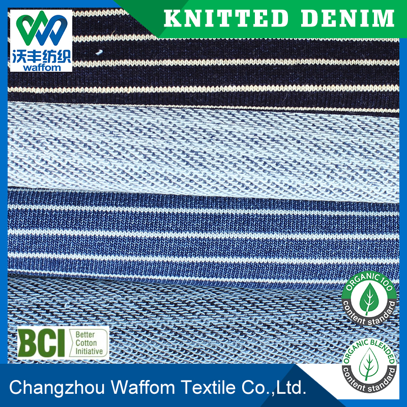 light Polyester / Cotton stripe knit denim fabric for jeans