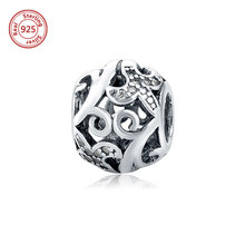 Genuine 925 Sterling Silver Openwork Charm Beads with Clear CZ for old fashioned charm bracelets