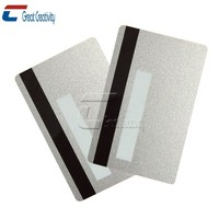 CXJ Group Metallic Silver Blank Magnetic Stripe PVC Gift Credit Cards with CR80 30ml HiCo/LoCo