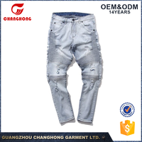 Guangzhou Factory OEM Men's Slim Fit Distressed Denim Biker Jeans Hot Selling In Colombianos