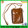 Brown Shoulder Bags PU Leather Neck Hanging Bag For Most cell phone