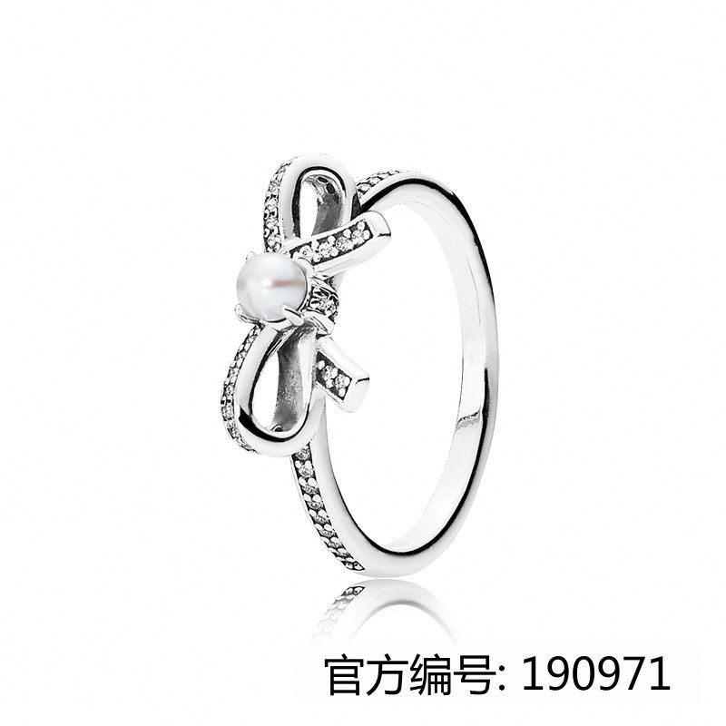 XINHUI 2017 hot bowknot pearl ring fit pandoras china factory wholesale 1:1 925 sterling silver ring