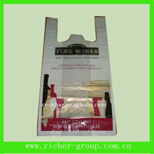 Plastic wine bag for wine bottle package