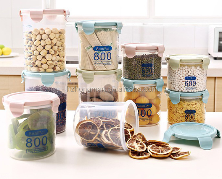 Kitchen transparent sealed cans, Plastic household cereals storage box, food storage tank milk cans