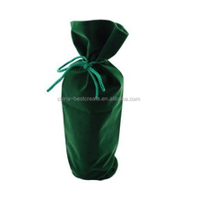 China manufacturer Velvet Wine Bottle drawstring Bag with without printing
