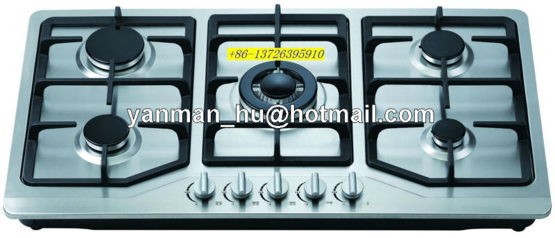 5 burner stainless steel cast iron gas hob gas cooker cooktop
