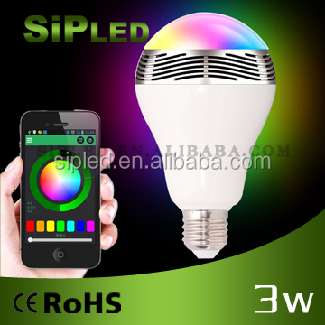 Multicolor Wireless Bluetooth 4.0 Smart LED Light Bulb Speaker - App For Android + IOS Smart Devices E27/E26