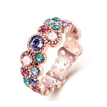New design European style stainless steel rings jewelry, colorful zircon ring for women/ 2016 latest design AR-033 Moonso