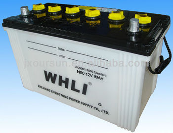 Super Quality Lead Acid Dry charged car battery for Starting N90 12V90AH WHLI