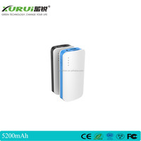 ,5200MAH 18650 power bank ABS casing 2 USB ports 5V,1A , LED indictor shows remaining battery