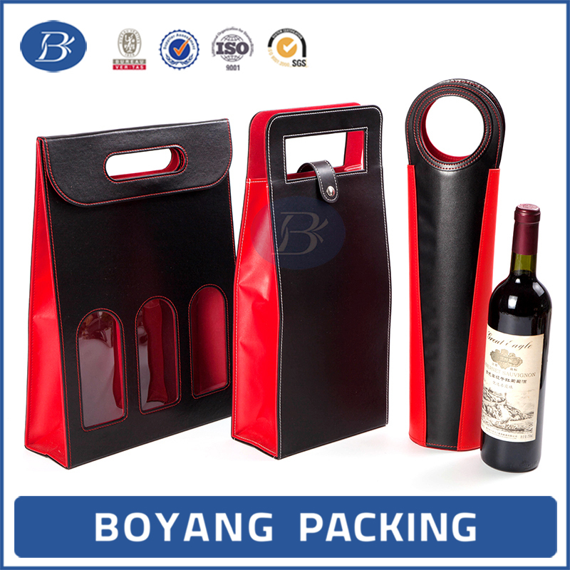 High Quality Customized leather wine bag carrier
