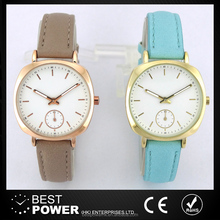 2017 PU leather white color dial women watch one eye metal case woman watch