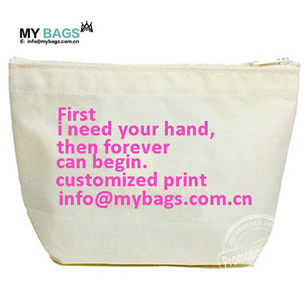 wholesale customized cotton canvas logo printed make up cotton pouch bag with zipper