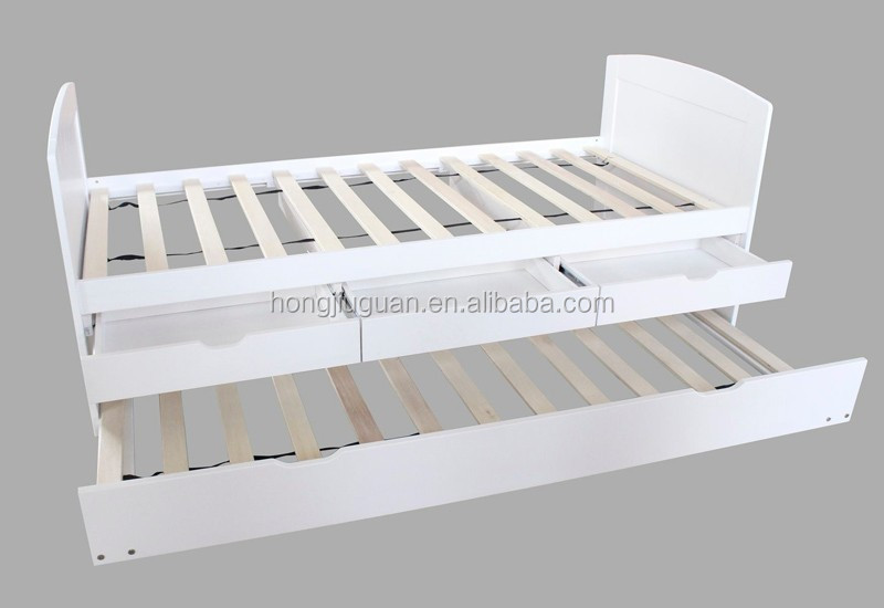 Single wooden day bed with trundle bed and drawers cabinet for Small single bed with drawers