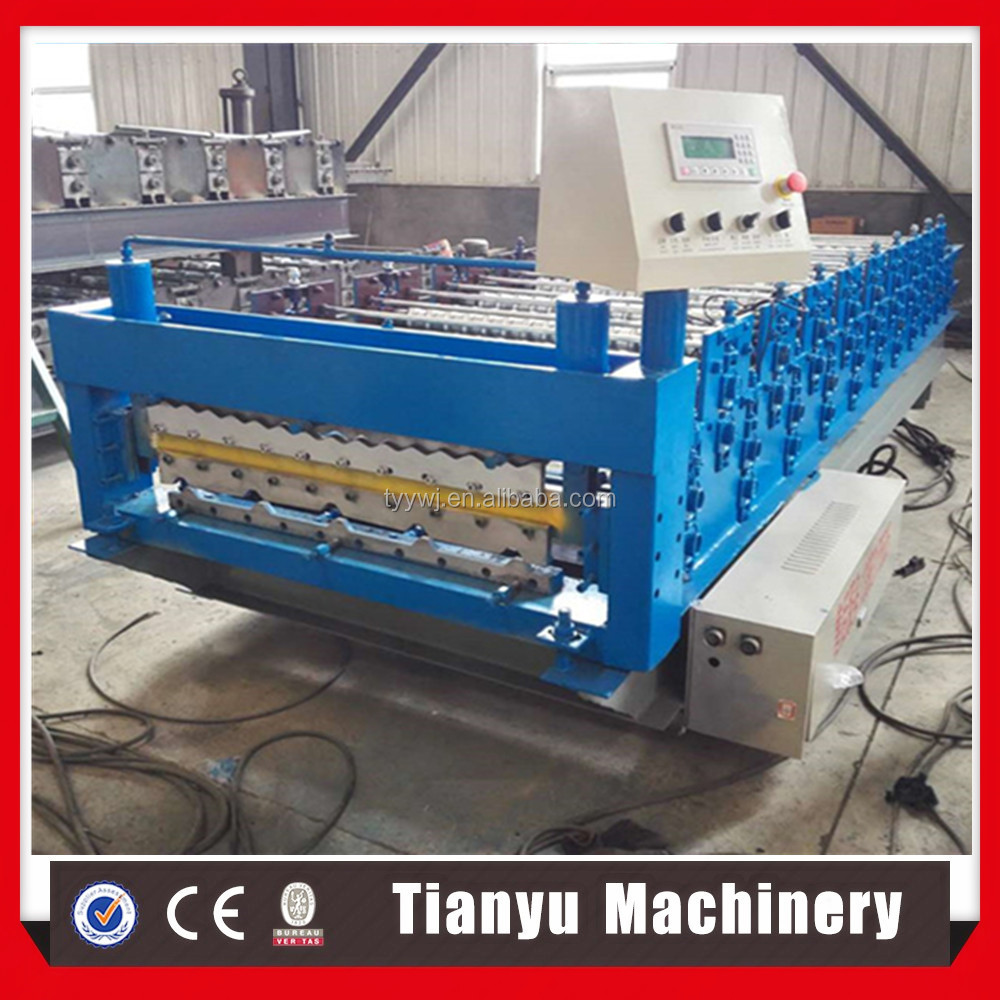 Double layer corrugated colou roof sheet making roll forming machine for roof