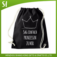 100% cotton Women Drawstring Backpack for Book Clothes Travel Outdoor vintage Drawstring Bag Accept custom logo