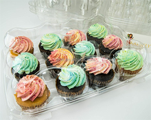 Hot sale customized plastic PET clear 12 hole cupcake boxes, cupcake containers, JMT-012