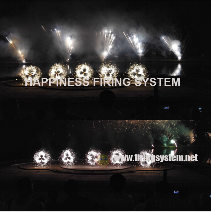 200m wireless control double wheels cold sparklers fireworks firing system