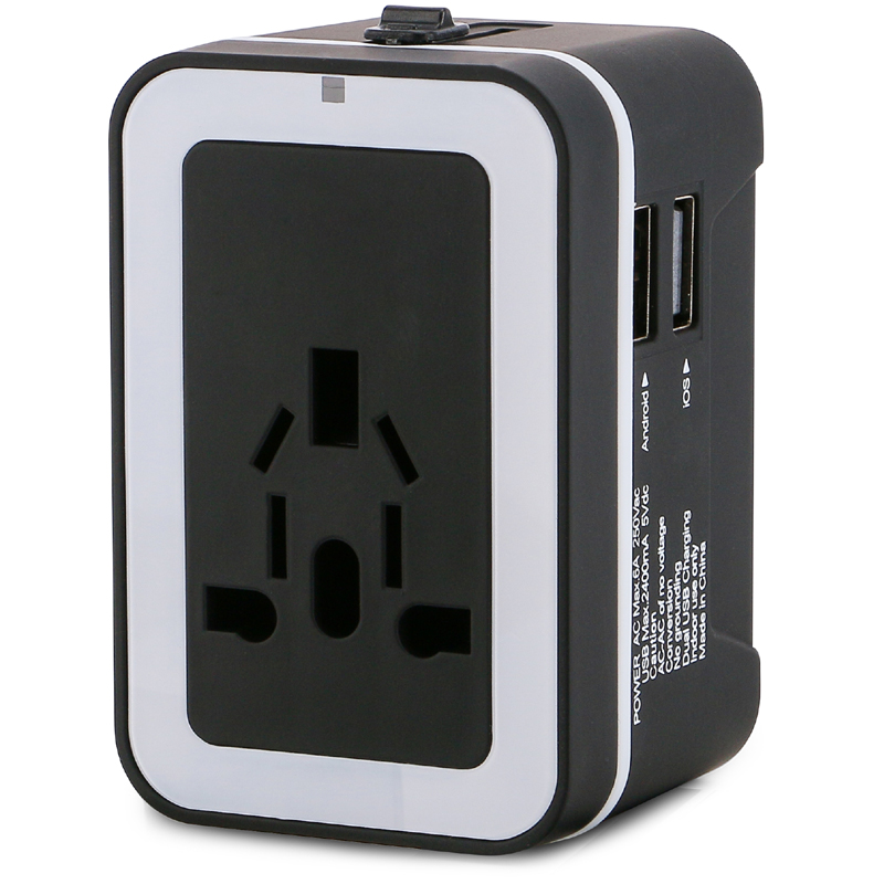 2014 factory wholesale universal travel adapter with dual usb 2.4A output