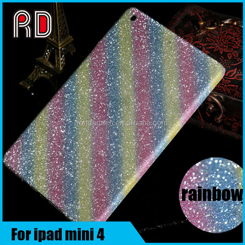 Fashion Rainbow color Glitter Full Body Stickers Case For ipad mini 4