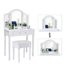 White 3 Drawers Dressing Table Set with 1 Adjustable Mirror and 1 Free upholstered Stool 76*40*145 cm 3D Floral Deco for Bedroom