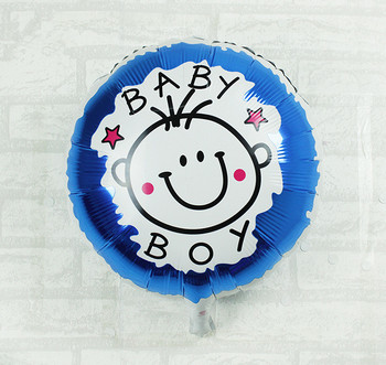 18inch Boy and Girl Face Foil Balloon Blue and Rose Red Foil Balloon for Baby Shower and Birthday Party Helium Balloon