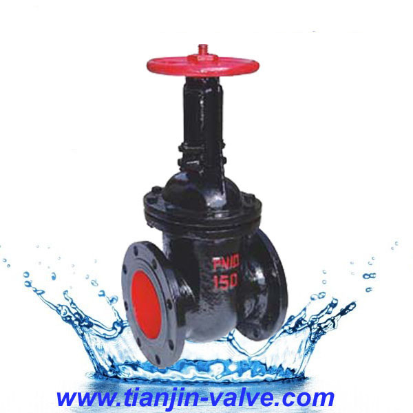 Gate valve drawing gate valve gear operated