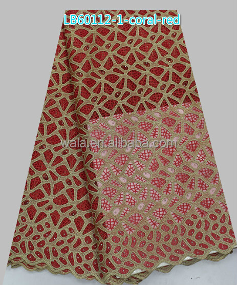 african elegant dry lace material LB60112-1 coral red swiss cotton lace fabric for garments