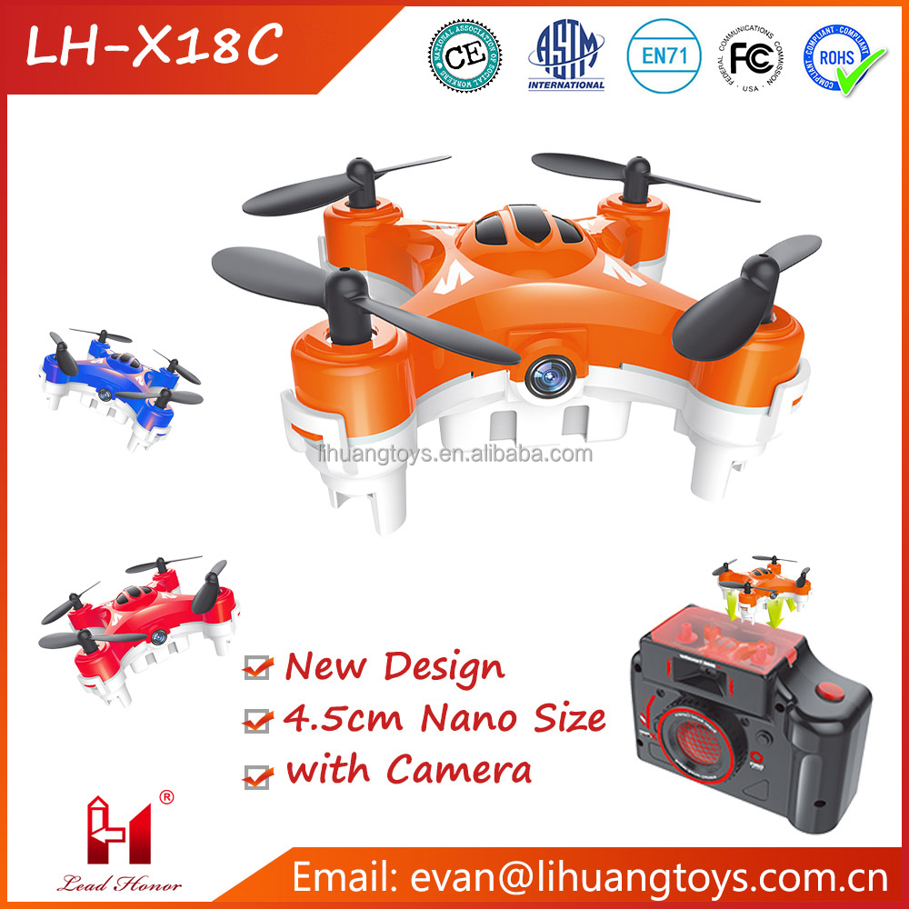 2016 New Idea RC Dron LH-X18C 2.4GHz 6-Axis Gyro Nano Size Pocket Drone RC Quadcopter Mini Dron with Camera