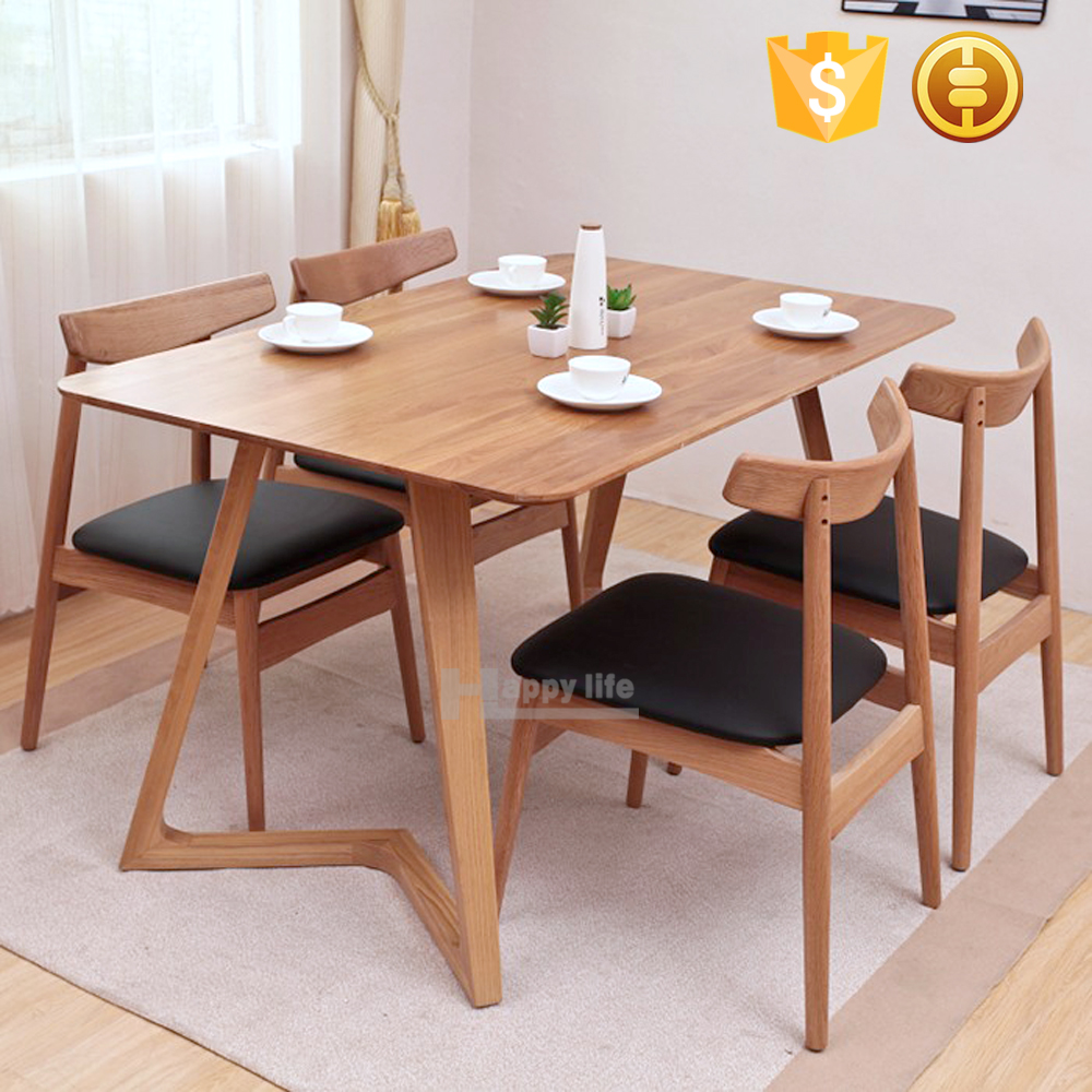 Hot selling Scandinavian dining room furniture wooden restaurant dining table with attached chair