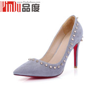 2016 newest design cheap suede pumps with rivet brand shoes woman sexy red bottoms high heels