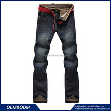 Fashion men classic wear ripped hole disel dark blue mens baggy pants no name brand denim jeans