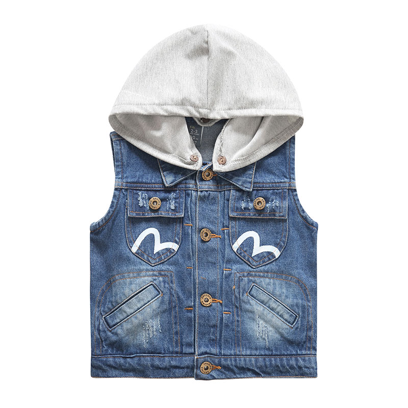 Child with a hood vest autumn children's clothing male child denim vest outerwear baby boy casual vest spring and autumn clothes