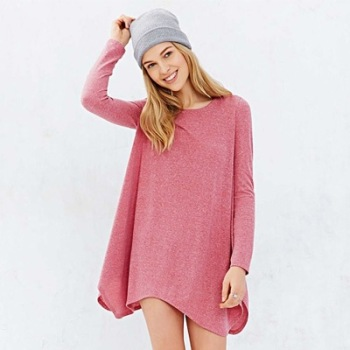 MS75159L Casual style women plain pink dress