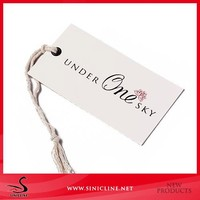 Sinicline Factory made Custom Logo cotton string hang tags for Jeans