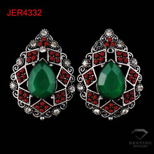 Yiwu jewelry factory make alloy rhinestone gemstone tear drop earrings