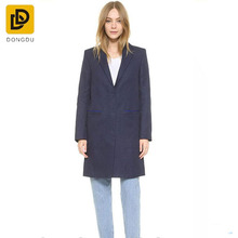 Spring and Autumn Classic women dark blue Wool long coat for women