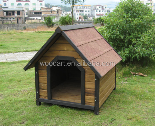 Indoor outdoor Single brown pointed roof wooden dog kennel pet house