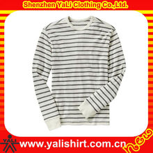 Latest design high quality cotton loose plain long sleeve black white stripe t shirt