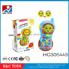 Funny plastic smart learning baby phone toy cartoon changing face mobile phone toy HC306449