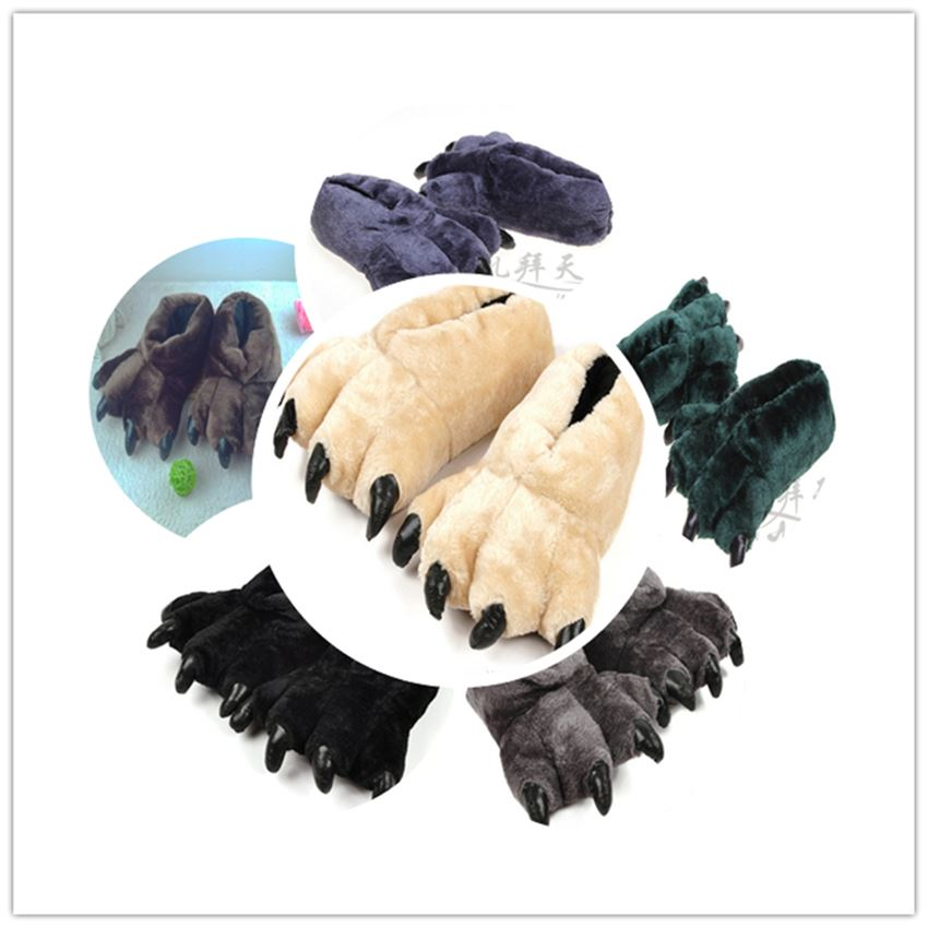 2017 Furry Bear Paws Leopard Grain Slippers Home Warm Winter Cartoon Cotton Shoes Pyjamas Set DIY Neutral Color High Quality