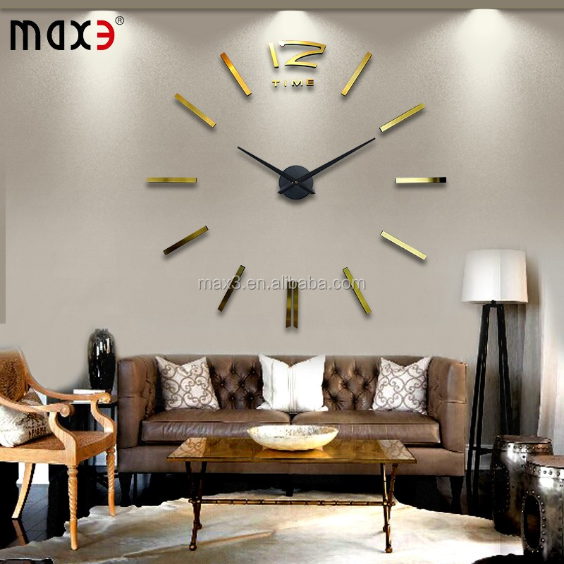 2016 hot selling 3d frameless large diy sticker wall clock for home decoration