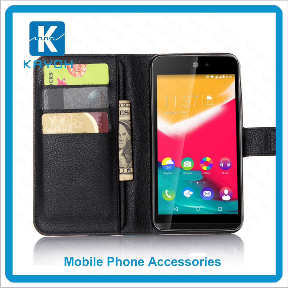 [kayoh]Black Bags Handbag Lady Wallet Leather Flip Case Cover Mobile Phone Case For Wiko Rainbow Jam 4G