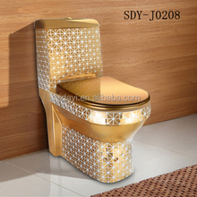 Sanitary ware golden colored wc toilet bowl ceramic gold portable toilet