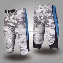 Custom Made high end sublimated white camouflage patterns youth and adult American football team uniforms Pants with Pads