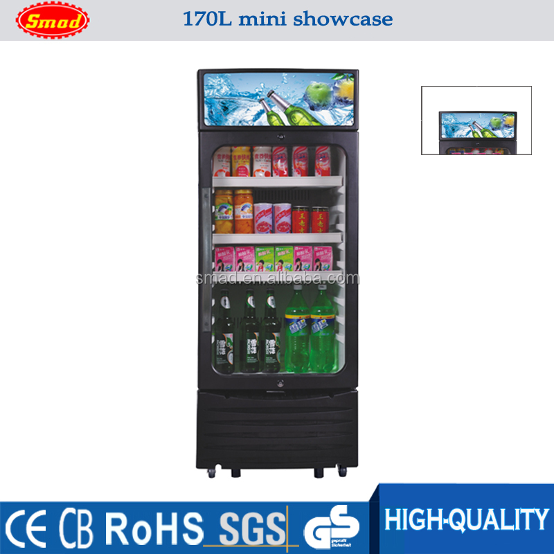 Smad 170L Low Power Consumption Front Open Glass Door Beverage Showcase With CE